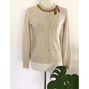 Lily Pulitzer Beaded Bow Wool Cashmere Cardigan S